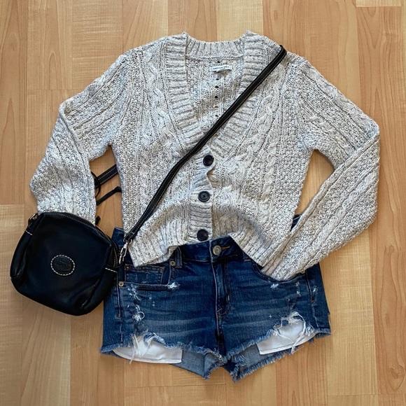 America Eagle Grey Knit Cardigan XS